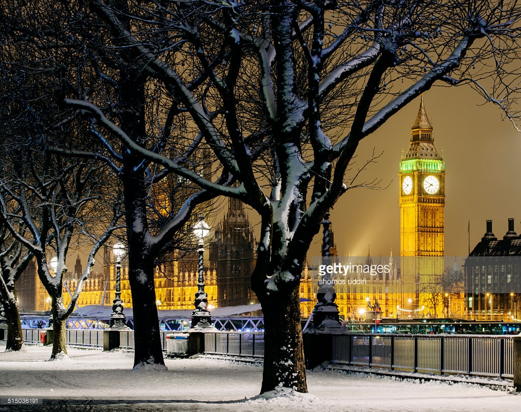 London Winter Snow Big Ben