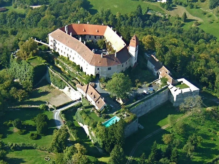 Bernstein Castle Austria Ariel Shot