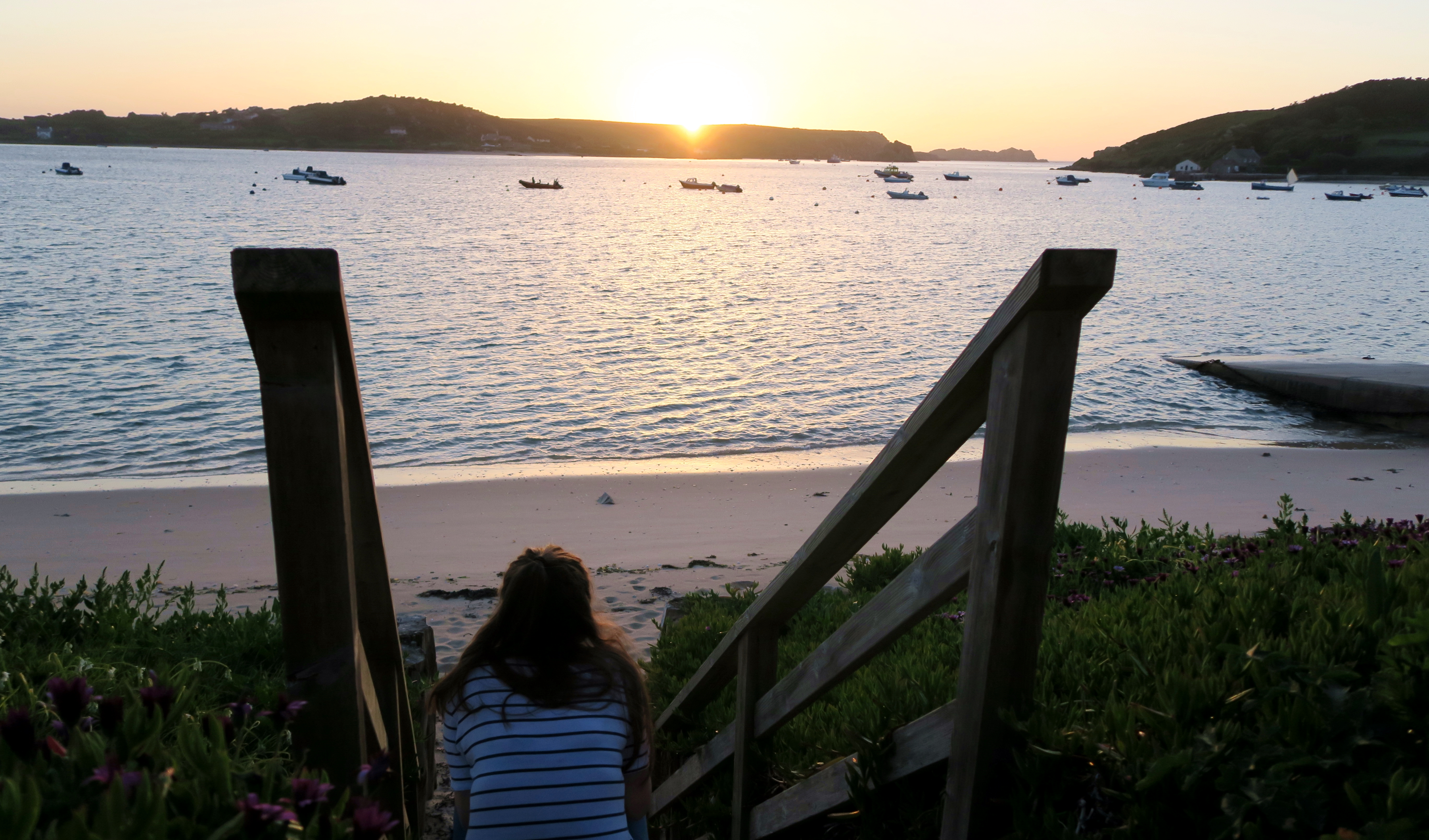 Isle of Scilly Girl At Sunset