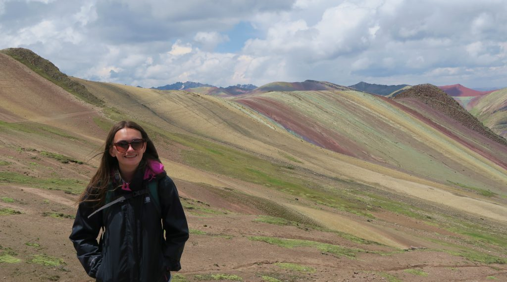 Girl At Rainbow Mountain Cusco Peru