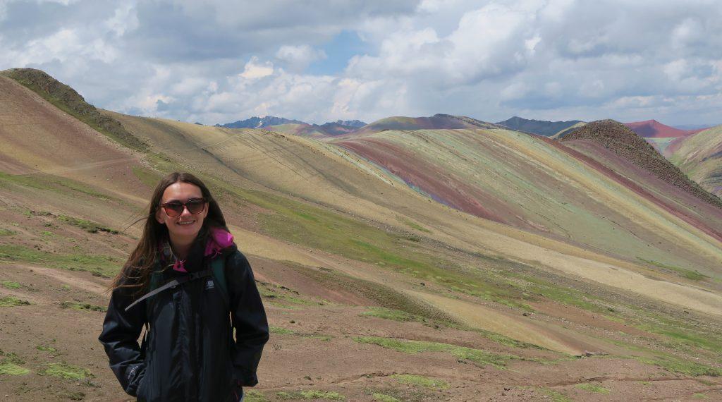 Girl At Rainbow Mountain Cusco Peru
