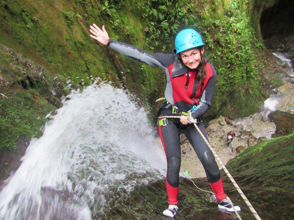 Girl Canyoning Banos Ecuador