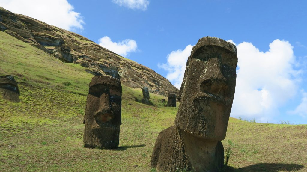 Two Moai At Easter Island Quarry