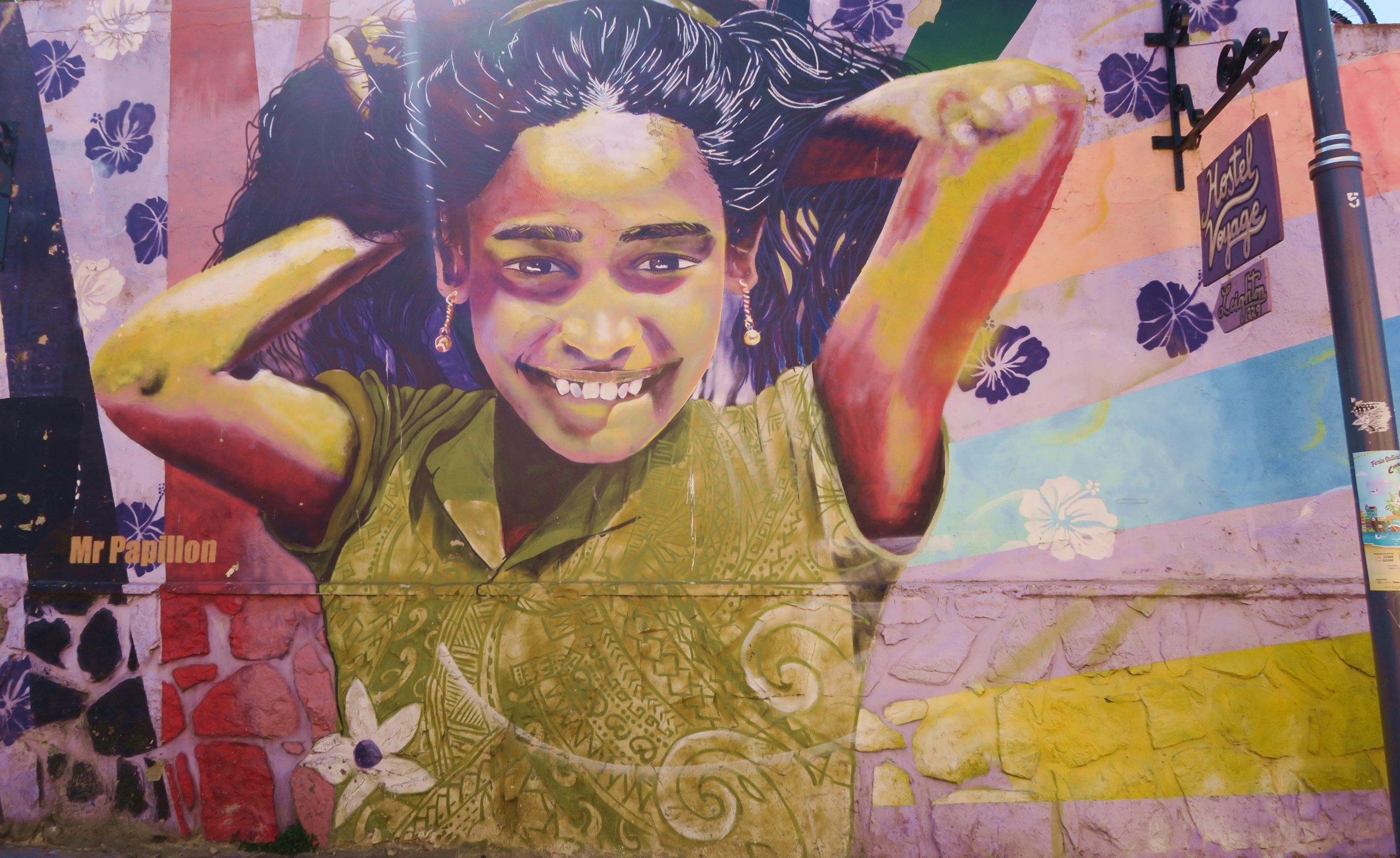 Valparaíso Colourful Young Girl Street Art