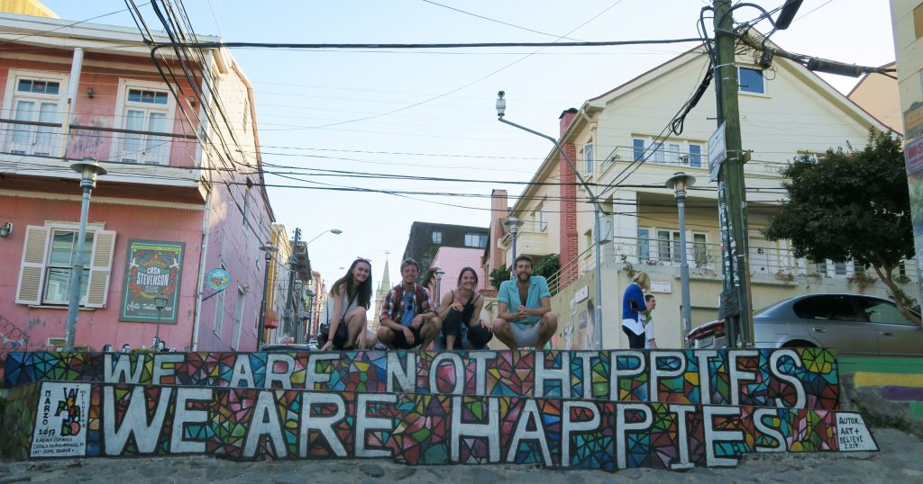 Valparaíso We Are Not Hippies, We Are Happies Street Art