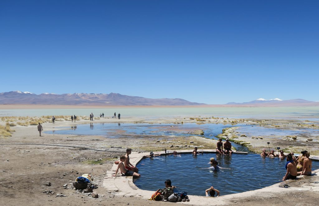 Hot spring lagoons in Uyuni, Bolivia