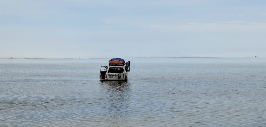 Car Drowning on Uyuni Salt Flats