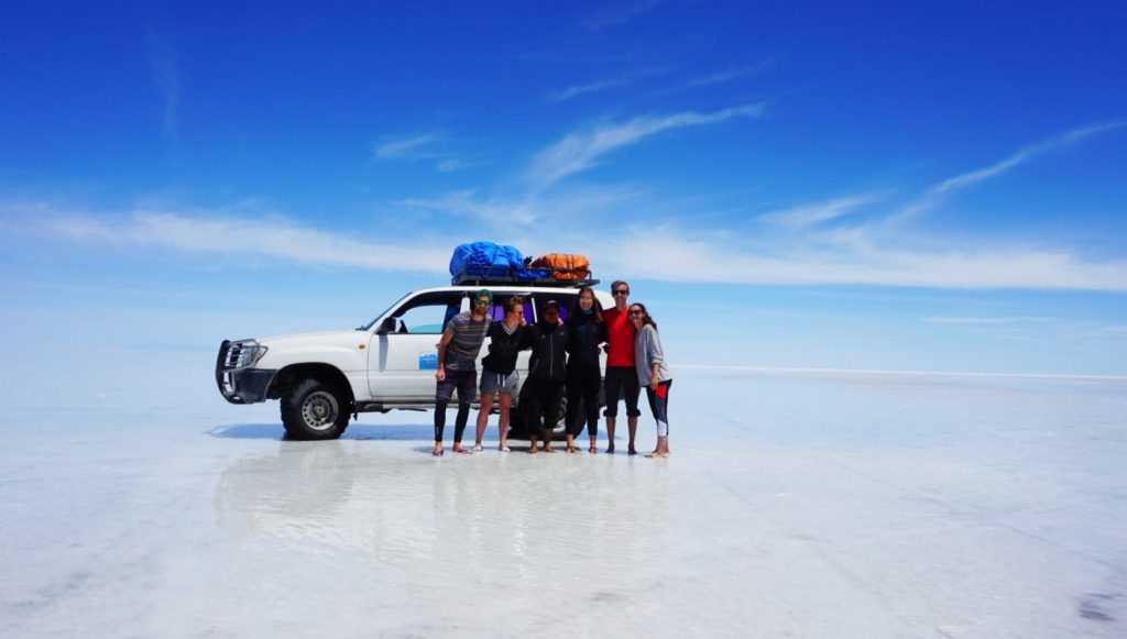 Group on the Uyuni salt flats