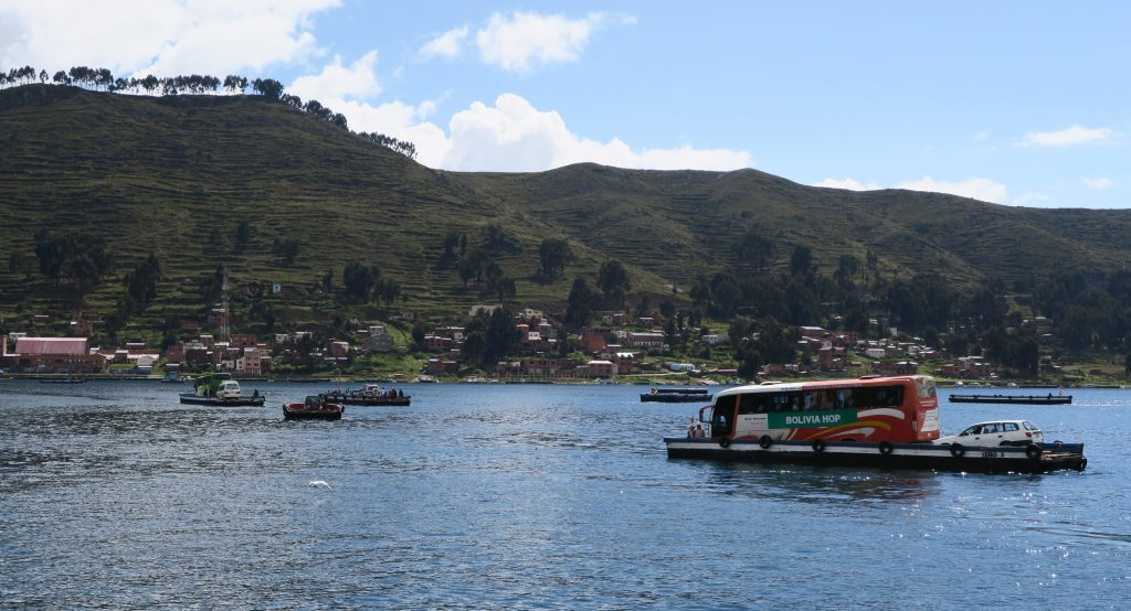 Isla Del Sol Bolivia Hop bus crossing the water