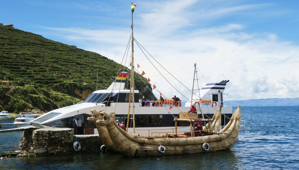 Isla Del Sol, Bolivia - traditional dragon boat