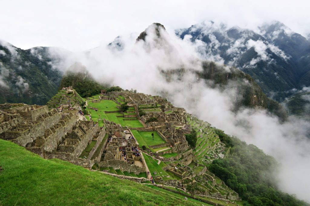 View of Machu Picchu from The Sun Gate on a Cloudy Day