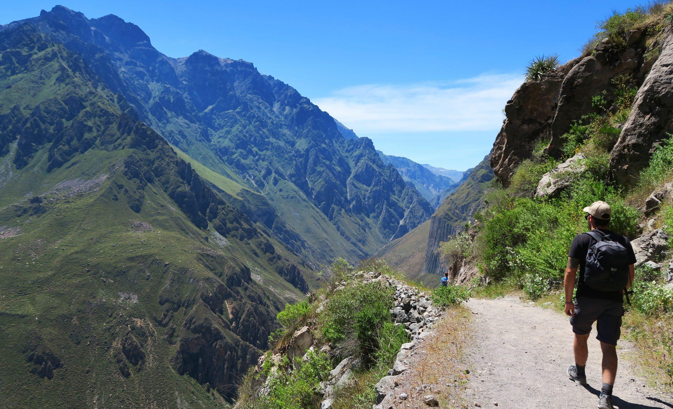 Man Walking the Colca Canyon Trail