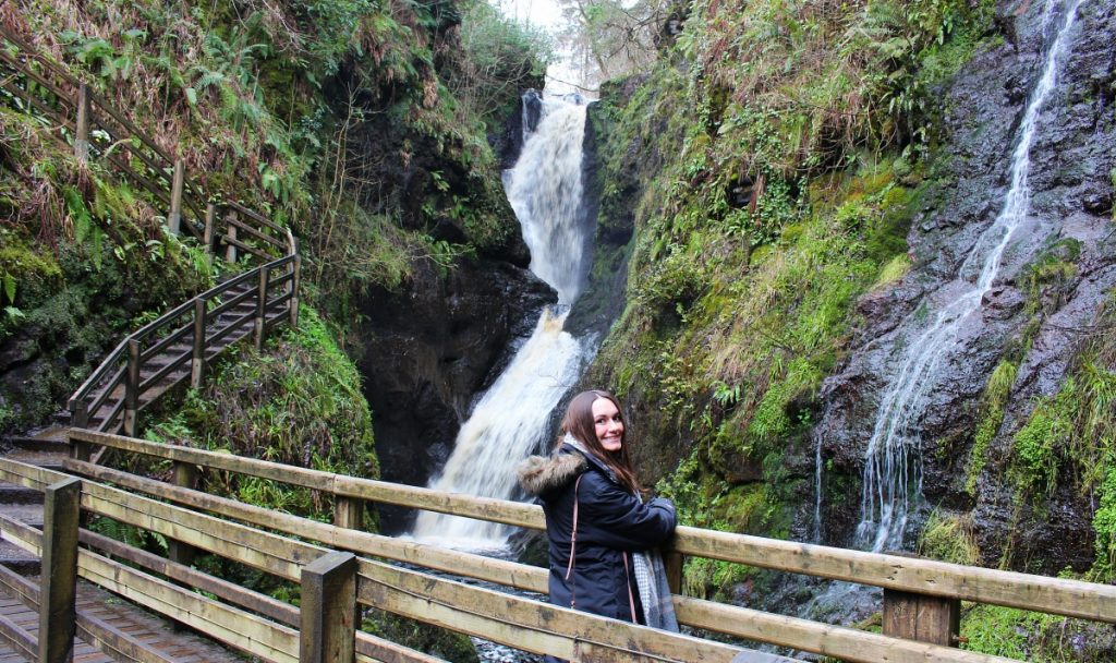 Girl at Glenariff Forest Park Waterfall
