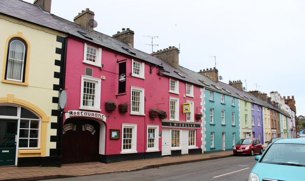 Pink and colourful houses in Cushendall