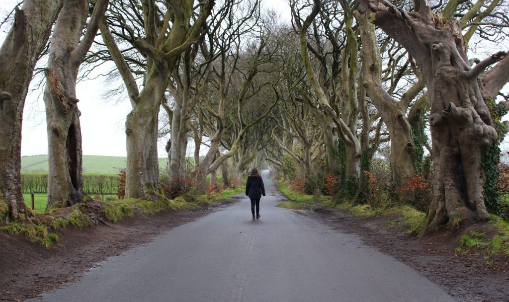 Girl walking through The Dark Hedges