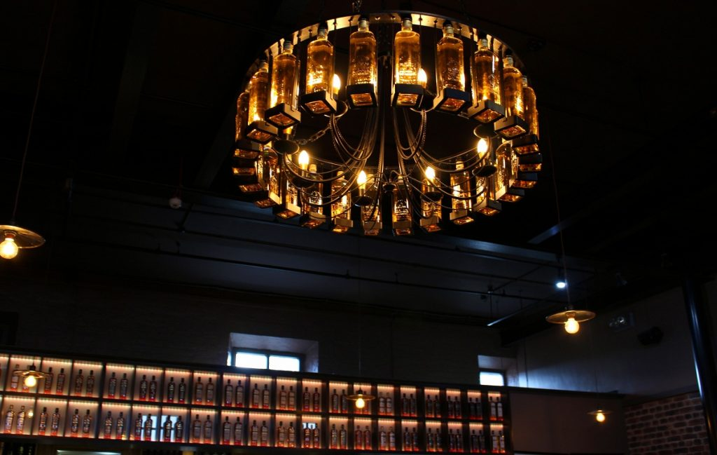 The Old Bushmills Distillery Bottle Chandelier