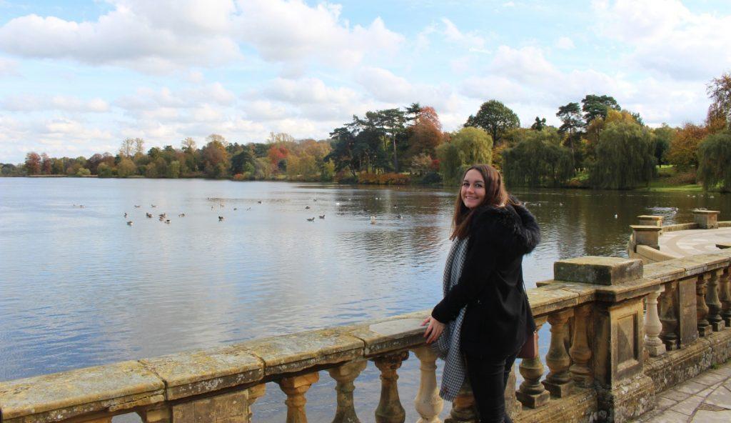 Girl at Lake In Hever Castle