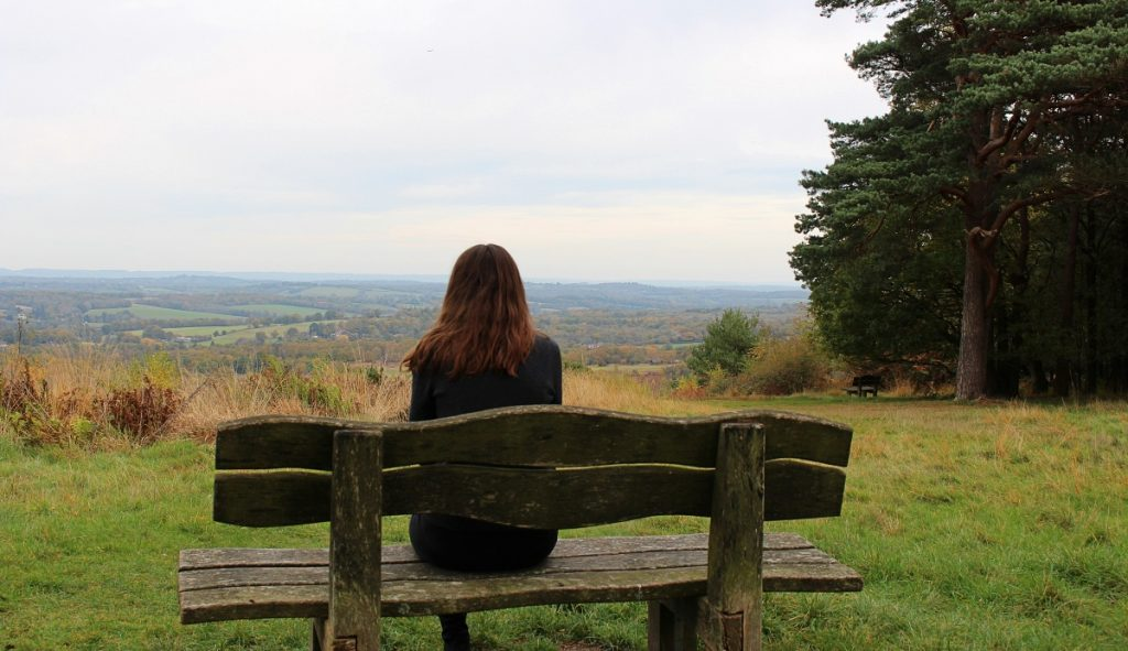 Girl on Bench at Ashdown Forest